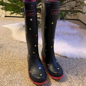Joules navy polka dot rain boots sz 9 EUC